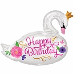 Happy Birthday Beautiful Swan Shape Balloon