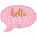 Hello Baby Pink Shape Balloon