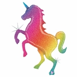 Rainbow Unicorn Holographic Shape Balloon