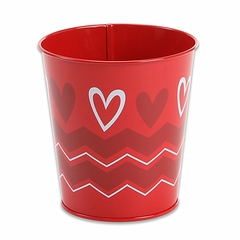 Tin Bucket: Red Chevron Print