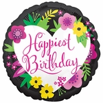 Standard Happiest Floral Birthday Helium Saver Balloon