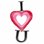Vertical I Heart U Helium Shape Balloon