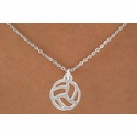 Abstract Volleyball Silver Charm Necklace