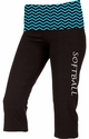 Aqua Chevron Waist Yoga Capris - Choice of 16 Sports on Leg or Waist