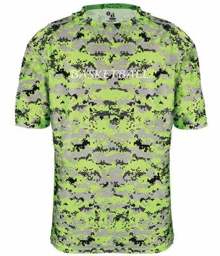 Lime Green Digital Camo Sport Printed Design T-Shirt - in 16 Sports