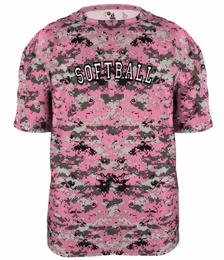 Pink & Grey Digital Camo Sport Printed Design T-Shirt - in 16 Sports