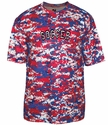Red, White & Blue Digital Camo Sport Printed Design T-Shirt - in 16 Sports