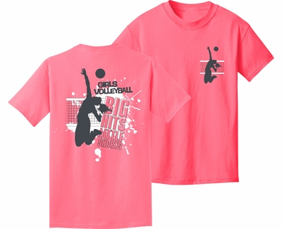 Big Hits Little Shorts Design Pink Volleyball T-Shirt