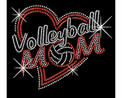 Big Red Heart Volleyball Mom Rhinestone Crew Neck Fitted Shirt
