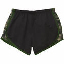 Black & Green Camo Print Track Shorts