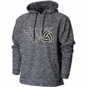 Black Heather Performance Fleece Hoodie w/ Net & Ball Volleyball Design