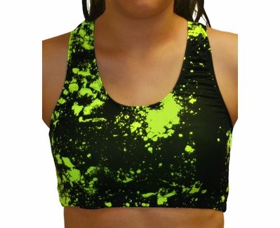 Black & Highlighter Yellow Paint Splatter Sports Bras