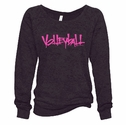 Black Ladies Burnout Fleece Crew w/ Abstract Volleyball Design in 5 Colors