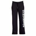 Black Ladies Fleece Sport Pants - with Volleyball printed on Leg