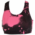 Black & Neon Pink Paint Splatter Sports Bras