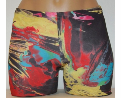 Black & Paint Brush Strokes Spandex Shorts