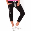 Volleyball Printed Black Soffe Pocket Capris