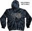 Black Tie-Dye Spider Hooded Sweatshirt - Choice of 10 Volleyball Designs