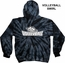 Black & Grey Spider Tie-Dye Hooded Sweatshirt - Choice of 12 Volleyball Designs