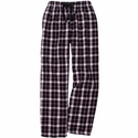 Black, White, Pink Plaid Flannel Lounge Pants - Choice of 22 Sports on Leg or Rear
