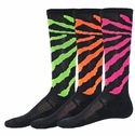 Black Wildcat Neon Stripe Knee High Zany Socks - 4 Color Options