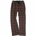 Black, Yellow, Red Plaid Flannel Lounge Pants - Choice of 22 Sports on Leg or Rear