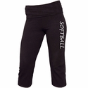 Black Yoga Capris w/ Volleyball Printed on Leg