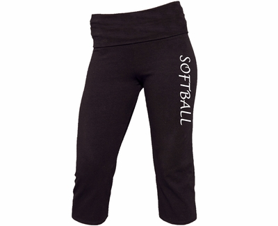 Black Yoga Capris - Choice of 16 Sports on Leg or Waist