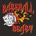 Blazing Baseball Beast Design T-Shirt - in 27 Shirt Colors