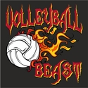 Blazing Volleyball Beast Design Long Sleeve Shirt - in 18 Shirt Colors