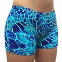 Blue Giraffe Animal Print Spandex Shorts