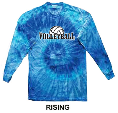 Blue Jerry Tie Dye Long Sleeve Shirt - in 6 Volleyball Designs