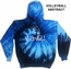 Blue Ocean Tie-Dye Hooded Sweatshirt - Choice of 10 Volleyball Designs