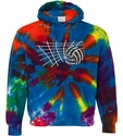 Blue Rainbow Tie-Dye Hooded Sweatshirt with Net & Volleyball Design