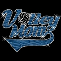 Blue Rhinestone Volleyball Mom Swoosh V-Neck Fitted Shirt