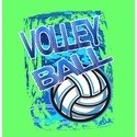 Blue Volley Ball Design Neon Green T-Shirt