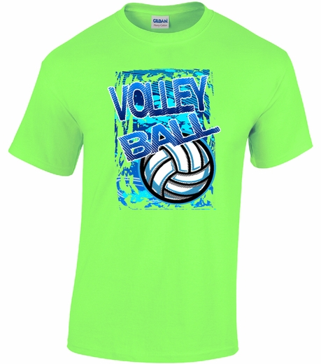 Blue white volleyball design neon green short sleeve for Neon blue t shirt