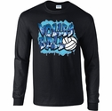 Blue Volleyball Graffiti Design Long Sleeve Black Shirt