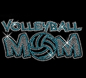 Blue Volleyball Mom Rhinestone V-Neck Fitted T-Shirt