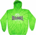 Bright Lime Green Tie-Dye Hooded Sweatshirt - Choice of 6 Volleyball Designs