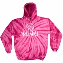 Bright Pink Tie-Dye Hooded Sweatshirt - Choice of 6 Volleyball Designs