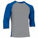 Champro DRI-GEAR Grey 3/4 Sleeve Baseball Shirt - 4 Sleeve Colors
