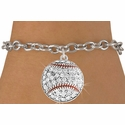 Clear Multi-Crystal Baseball Charm Bracelet