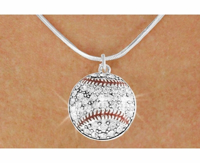Clear Multi-Crystal Baseball Charm Necklace