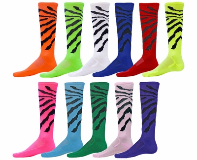 Colorful Wildcat Black Stripe Knee High Zany Socks - 11 Color Options