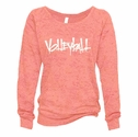 Coral Ladies Burnout Fleece Crew w/ Abstract Volleyball Design in 5 Colors