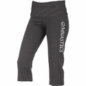 Dark Heather Grey Yoga Capris w/ Volleyball Printed on Leg