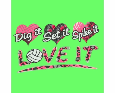 Dig Set Spike Love It Design Neon Green Volleyball T-Shirt