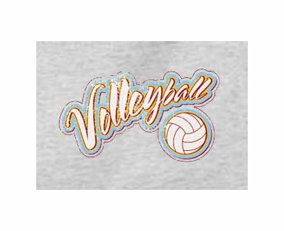 'Distressed' Volleyball Script Design Long Sleeve Shirt - in 20 Shirt Colors