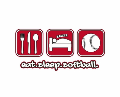 Eat Sleep Softball Design Long Sleeve Shirt - in 20 Shirt Colors